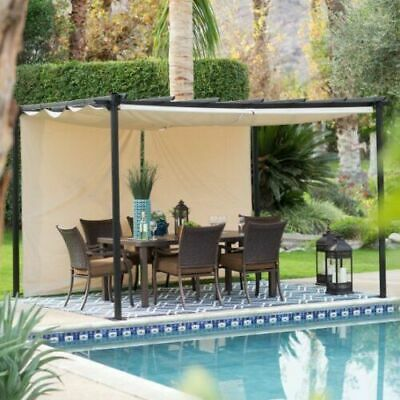 Outdoor Steel Pergola Gazebo Patio Sun Shade with Retractable Canopy 10 x 12 Ft ()