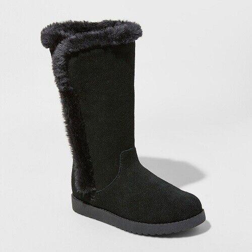 Women's Daniela Wide Width Suede Tall Boots – Universal Thread Black 11W Boots