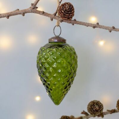 Large 11x7 Green Glass Fir Cone Pinecone Bauble Vintage Hanging Xmas Decoration
