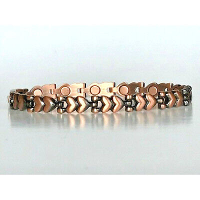 7.5 IN COPPER  MAGNETIC BRACELET HEART DESIGN WITH MAGNET IN EVERY LINK NEW 6426 (Copper Link Magnetic Bracelet)
