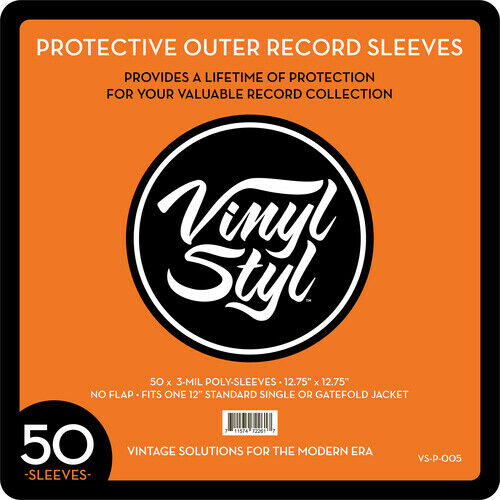 """Vinyl Styl™ 12.75"""" X 12.75"""" 3 Mil Protective Outer Record Sleeve 50CT [New Bag/S"""