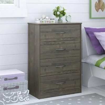 كومودينو جديد Bedroom Storage Dresser Chest 4 Drawer Modern Wood Furniture Gray Rodeo Oak