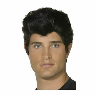 Danny Wig Black Grease Musical T-Birds Mens Fancy Dress Party Accessory Smiffys  Danny T-bird Adult Grease