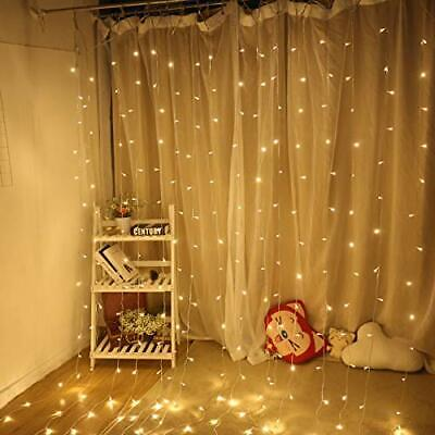 300 LED Curtain String Fairy Lights Warm White 3M*3M For PartyXMAS Wedding Decor ()