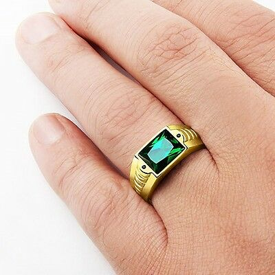 Mens Ring in Solid 10K Yellow Fine GOLD with Amethyst EMERALD Topaz Gemstone