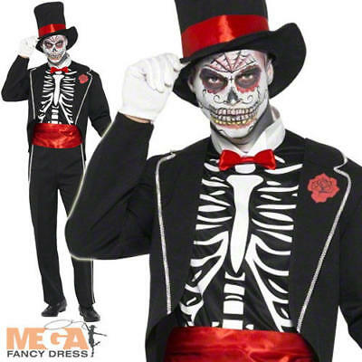 Skeleton Voodoo Mens Halloween Day of the Dead Fancy Dress James Bond Costume