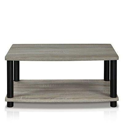 Modern Grey Coffee Table Wood End Side Shelves Shelf Living Room Furniture