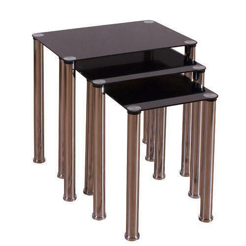 Black Coffee Table Nest: Black Glass Nest Of Tables