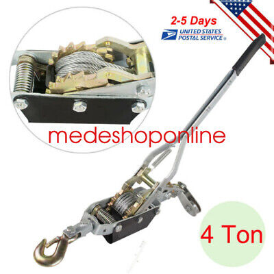4 Ton 8000lbs Hook Come A Long Winch Hoist Hand Cable Puller Lever Pulling Tool