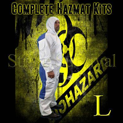Dupont Tychem Tyvek Qc Qc127 Chemical Hazmat Suit Kit Large White New Size L