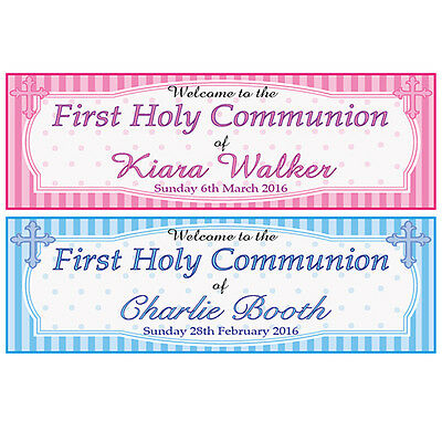 2 PERSONALISED FIRST HOLY COMMUNION BANNERS - WELCOME TO THE 1ST HOLY COMMUNION](Communion Banners)