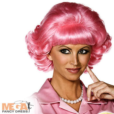 Pink Ladies Frenchie Costume (50s Pink Frenchy Wig Ladies Fancy Dress 1950s Grease Adults Costume Accessory)