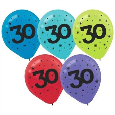 30th Anniversary Decorations (30th Birthday / Anniversary Balloons Vibrant Colors - 15 pieces Brand)