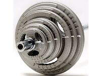 130KG Cast Iron Olympic Weights Set - Gym Barbell Bar