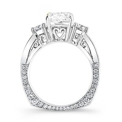 3.62 Ct. Cushion Cut, Half Moon & Round Diamond Engagement Ring 18K H,VVS2 GIA 1