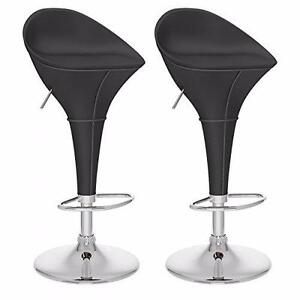 CorLiving DPV-203-B Round Styled Adjustable Bar Stool in Black Leatherette, Set of 2 – Brand New