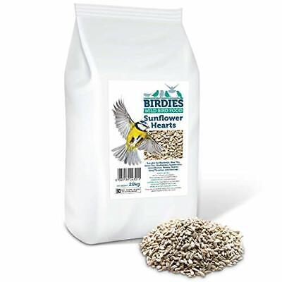 Birdies Sunflower Hearts- Bird Seed for Wild Birds -20kg Premium Husk Free