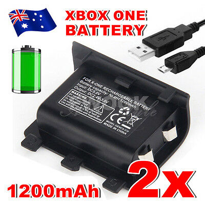 2x For Xbox One Battery Charger Pack Wireless USB Rechargeable Controller 1200mA