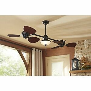 Dual ceiling fan ebay two side dual large ceiling fan oil bronze downrod mount w light 4450 cfm air mozeypictures Image collections