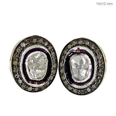 14k Gold Rose Cut 2ct Diamond Sterling Silver Stud Earrings Vintage Look Jewelry