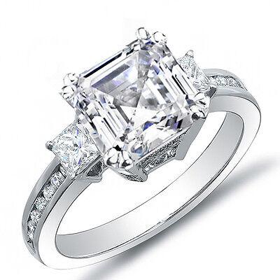 2.92 Ct. Asscher Cut w/ Princess Cut Diamond Engagement Ring I,VS2 EGL Platinum (Asscher Cut Vs Princess Cut)
