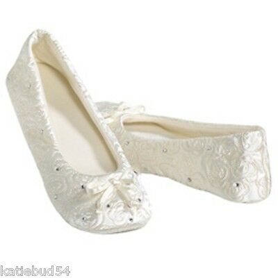 Bridal Satin Slippers (Isotoner Quilted IVORY Satin Wedding Slippers with Rhinestones Suede)