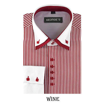 Men's dress shirt double layered collar,square button,striped two tone - Double Collar Dress