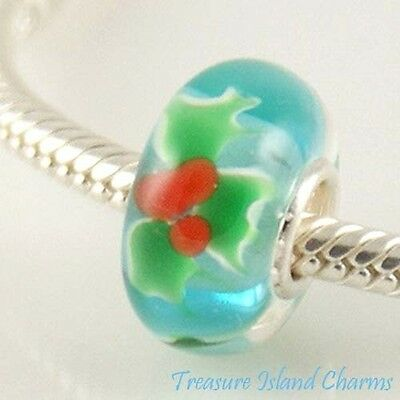Christmas Holly Berry Leaf Murano Glass .925 Sterling Silver European Bead Charm