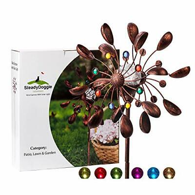 SteadyDoggie Solar Wind Spinner Jewel Cup 75in Tall (1.9m) - Multi-Colour LED