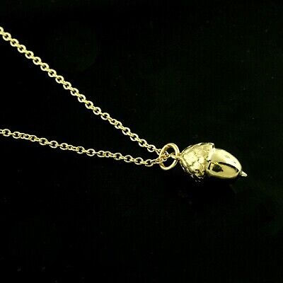 14k Solid Yellow Gold Acorn Charm Necklace Pendant