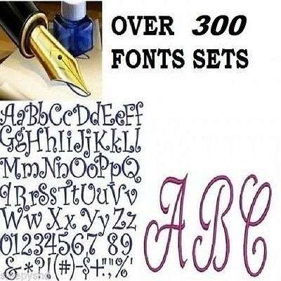 300+ Alphabet Fonts  Embroidery Machine Designs Brother Baby Lock PES Format