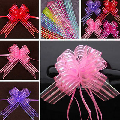 10pcs Organza Ribbons Pull Butterfly Bows Wedding Car Decoration Gift Wrap - Pull Bow