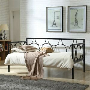 Twin size Contemporary Black Metal Daybed with Metal frame.