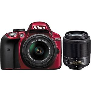 Perfect Condition Red Nikon D3300 18-55mm VR II Kit DSLR
