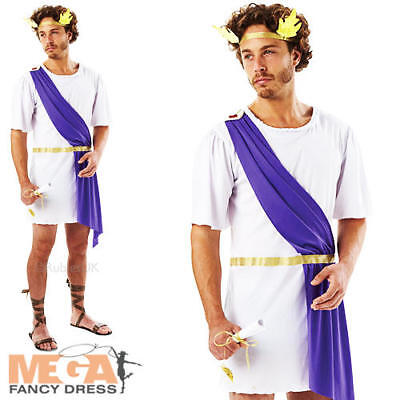 Greek God Toga Mens Fancy Dress Grecian Roman Book Week Adults Costume Outfit