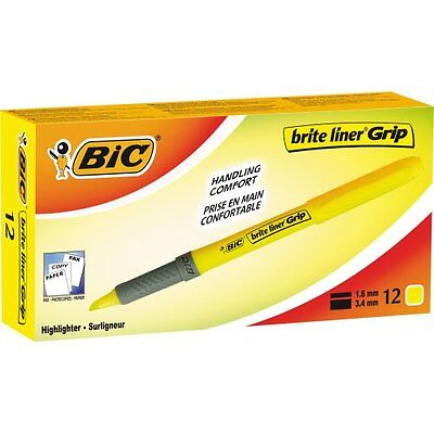 Bic Brite Liner Grip Highlighter - Chisel Marker Point Style - Yellow Gbl11yw