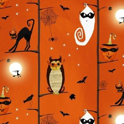 CHEEKY WEE PUMPKINS BLACK CATS OWLS GHOSTS HALLOWEEN IN THE TREES FABRIC - The Halloween Tree Pumpkin