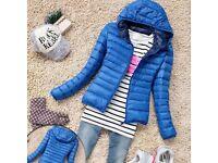 BNWT NEW Women Warm BLUE Thin Slim Hooded Coat Jacket UK 10 M