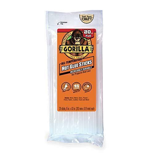 "Gorilla Hot Glue Sticks, Full Size, 8"" Long x .43"" Diameter, 20 Count, Clear,"