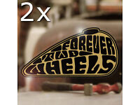 2x pieces Forever two wheels sticker decal shovelhead knucklehead gold 3.25/""