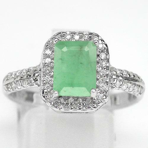 emerald cut cz ring ebay