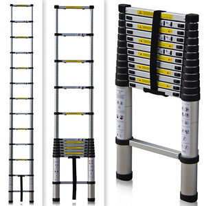 EN131 Std. 12.5Ft Aluminum Telescopic Telescoping Ladder Extension Extend Loft