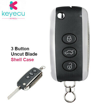 Flip Remote Key Shell Case Fob 3 Button for Bentley Continental GT GTC 2006-2010