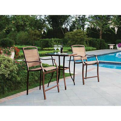 Garden Furniture - Patio Outdoor Bistro Table High Chairs Set Furniture 3-Piece Porch Deck Garden