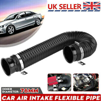 76mm 1M Car Air Intake Cold Cooling Pipe Inlet Duct Feed Hose Induction Filter