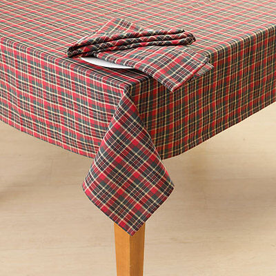 FESTIVE TARTAN PLAID Christmas Holiday Tablecloth Rustic Country Winter Fall