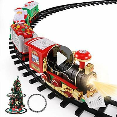 Temi Christmas Train Toys Set Around Tree, Electric Railway Locomotive Engine