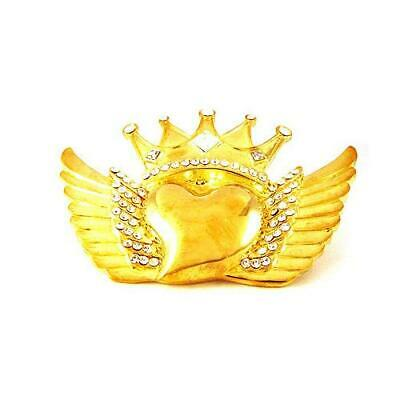 King Crown Heart Love Flying Angel Wing Rhinestone Gold Chrome Metal Belt Buckle - Flying Heart