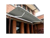 Manual Awning - UV Resistant Outdoor Patio Shade Complete with Fittings and Winder Handle - Grey