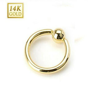 14k solid gold captive bead ring hoop cbr 14 16 18 gauge